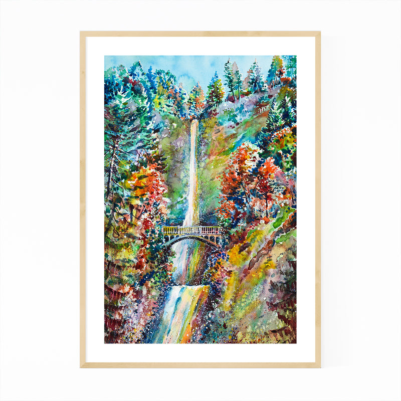 Autumn Waterfall Painting Framed Art Print
