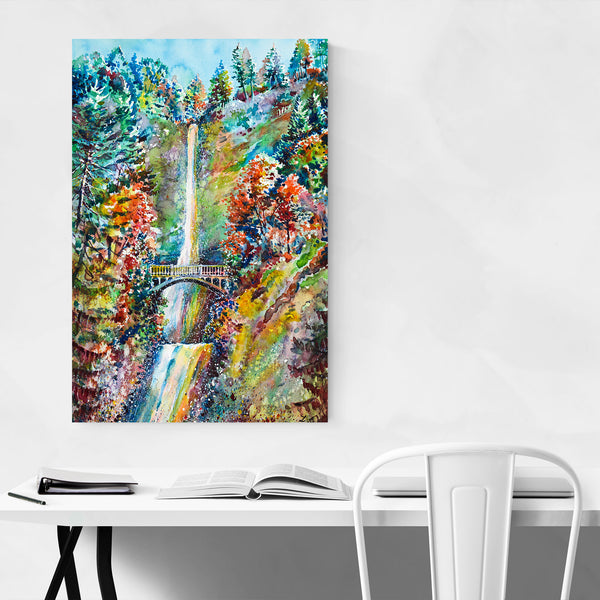 Autumn Waterfall Painting Art Print
