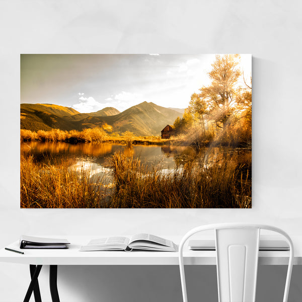 Lake Abandoned House Mountain Art Print