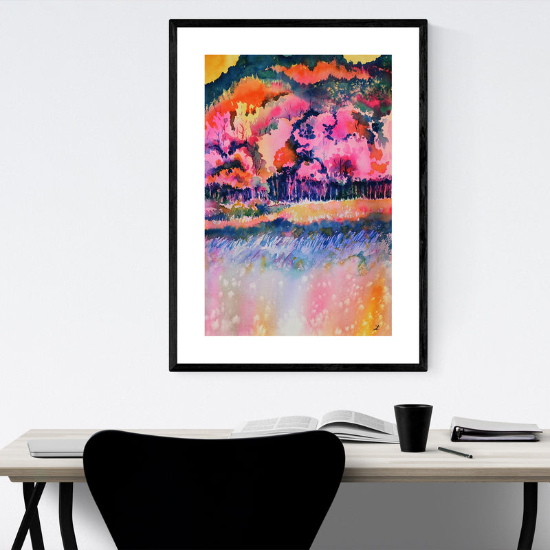 Autumn Forest Painting Framed Art Print