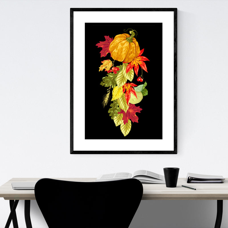 Autumn Fall Floral Botanical Nature Framed Art Print