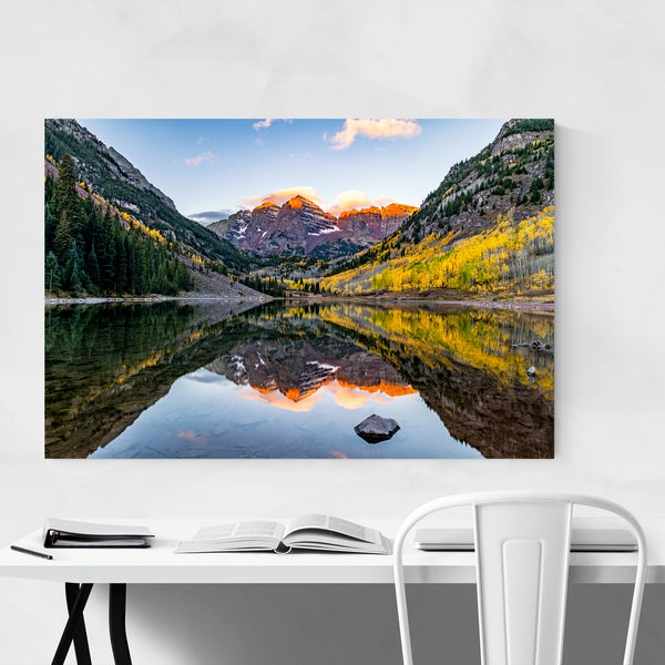 Maroon Bells Mountain Lake Autumn Art Print