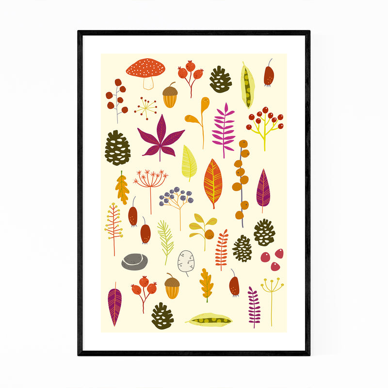 Autumn Leaves Nature Pattern Framed Art Print