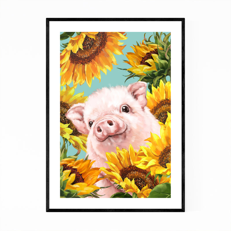 Pig Whimsical Animal Kids Room Framed Art Print