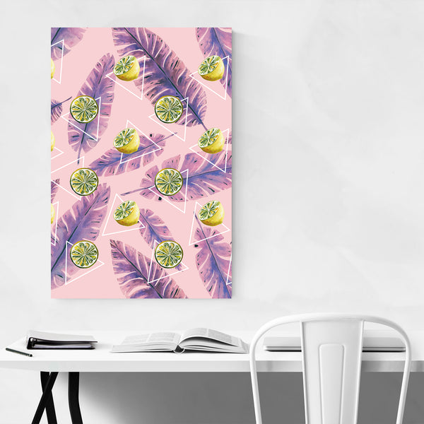Lemon Floral Botanical Pattern Art Print