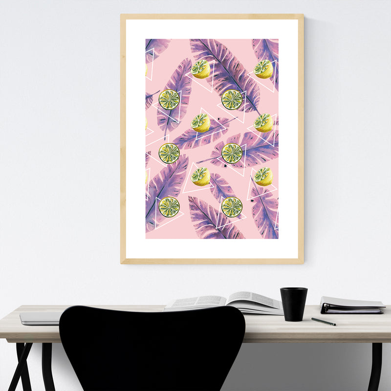 Lemon Floral Botanical Pattern Framed Art Print