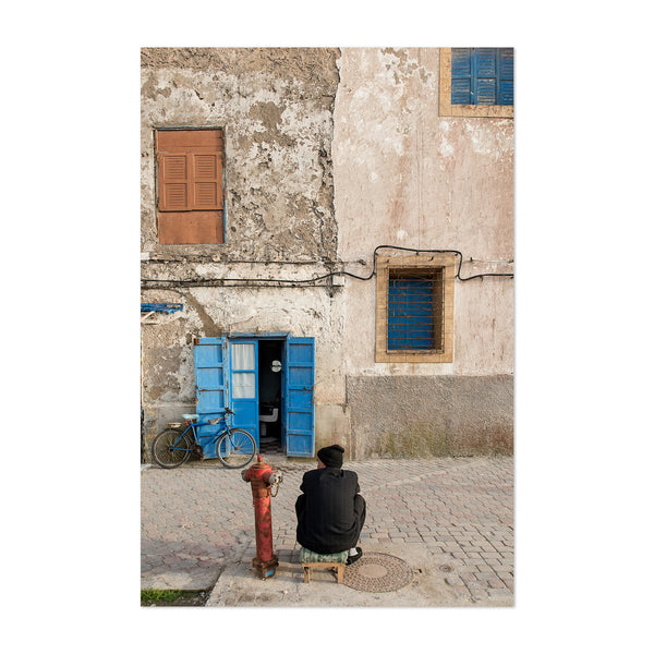Morocco Bicycle Blue Door Art Print