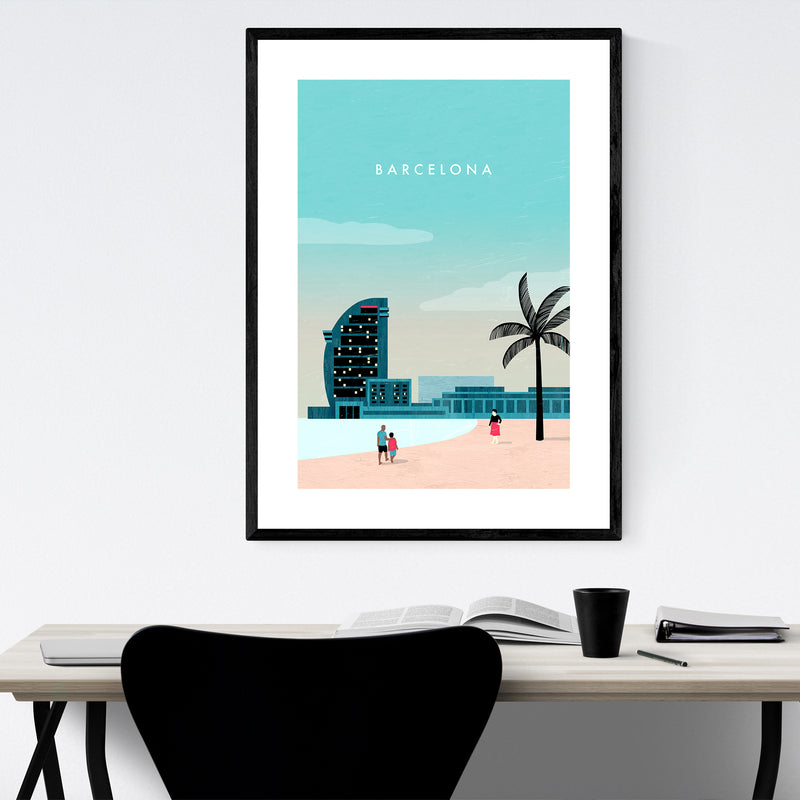 Barcelona Spain Vintage Travel Framed Art Print