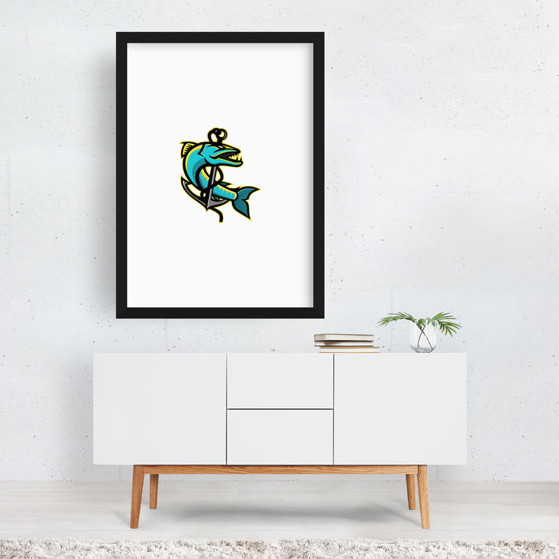 Barracuda and Anchor Mascot Framed Art Print