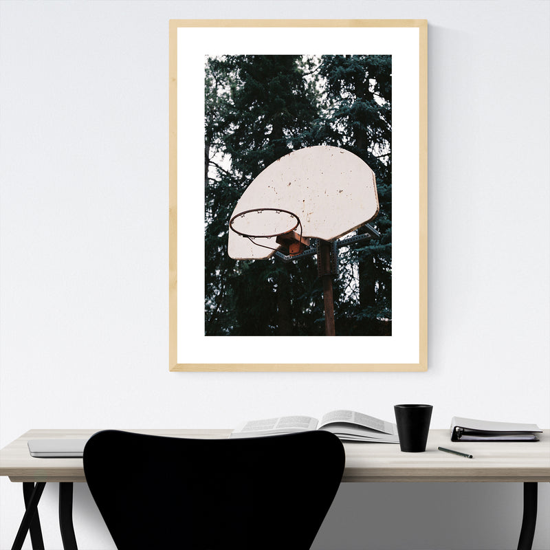 Abandoned Basketball Hoop Framed Art Print