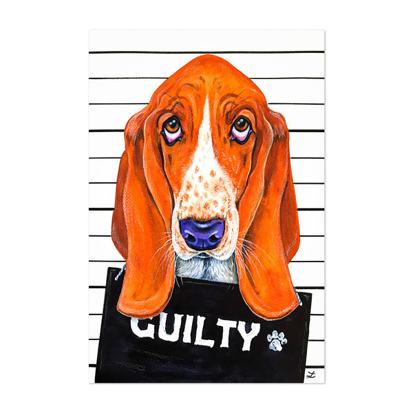 Animal Basset Hound Dog Love Painting Art Print