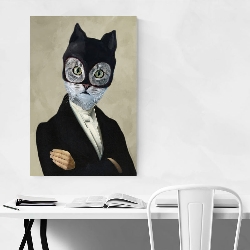 Funny Batman Cat Painting Art Print