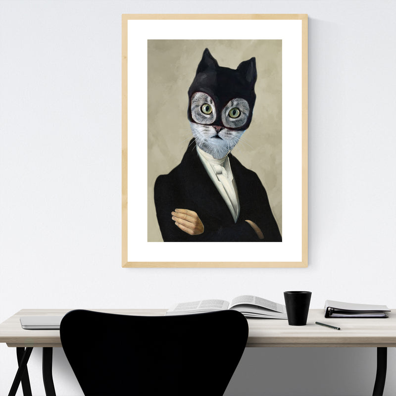 Funny Batman Cat Painting Framed Art Print