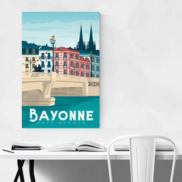 Bayonne France Retro Travel Art Print