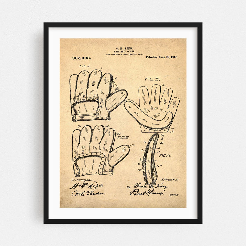 Baseball Patent Print Sports Framed Art Print