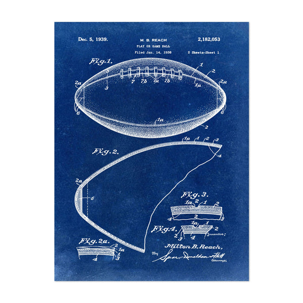 Patent Print Football Sports Art Print