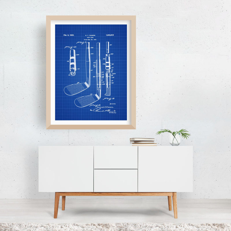 Patent Print Golf Sports Framed Art Print