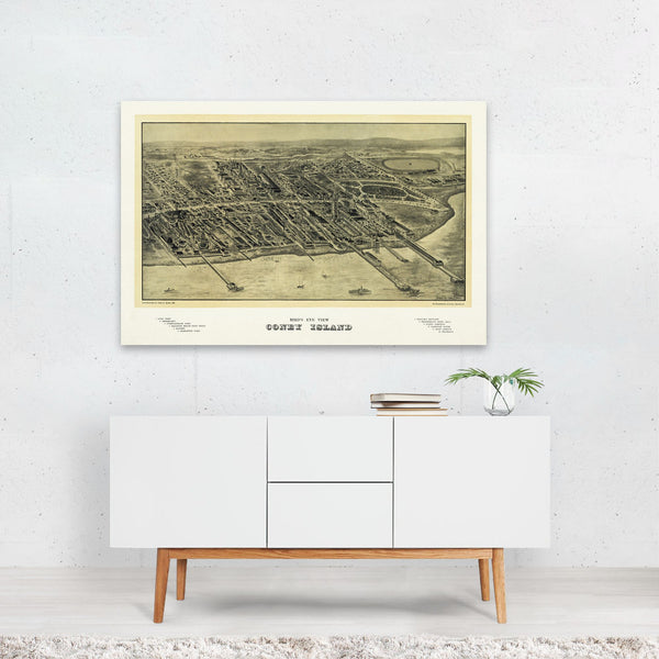 New York City Coney Island Map Art Print