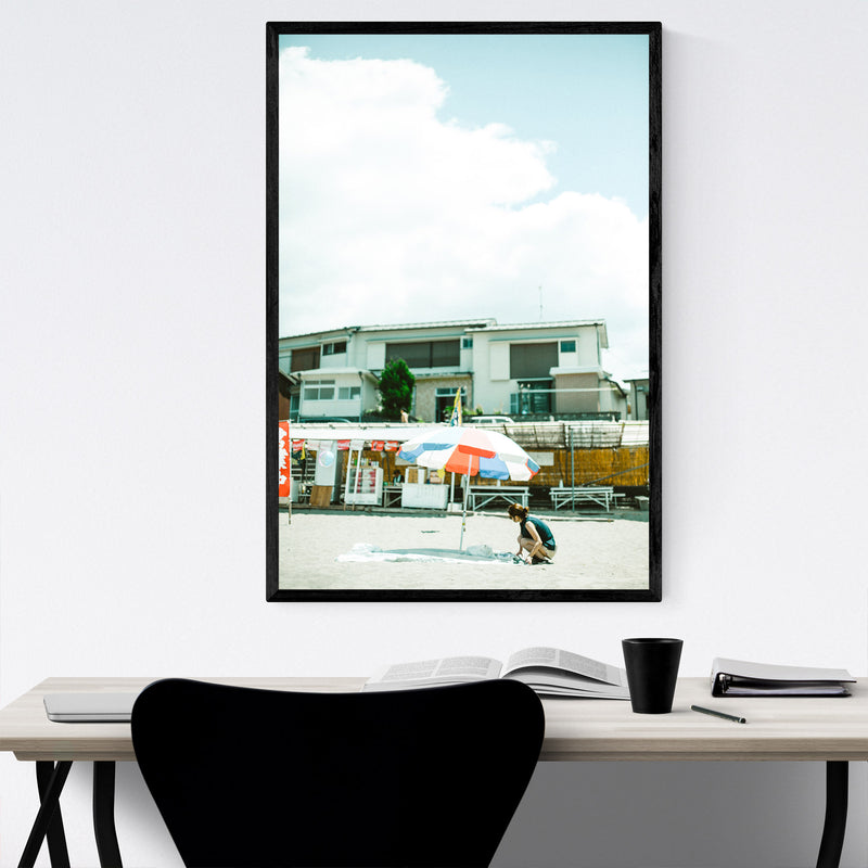 Umbrella Beach Matsuzaki Japan Framed Art Print
