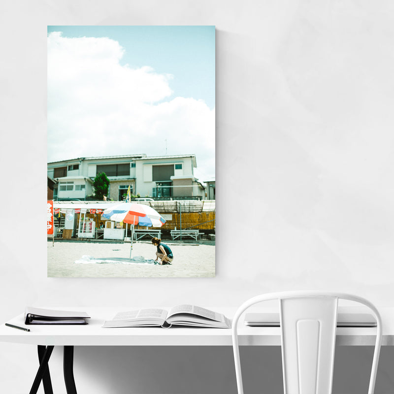 Umbrella Beach Matsuzaki Japan Metal Art Print