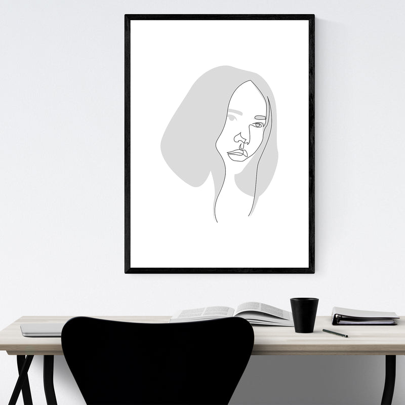 Feminine Fashion Line Drawing Framed Art Print