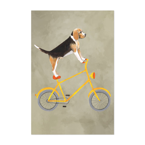 Funny Beagle Dog Bicycle Painting Art Print