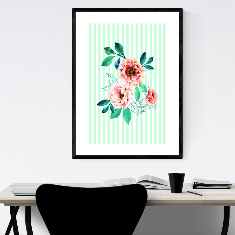 Floral Peony Watercolor Pastel Framed Art Print