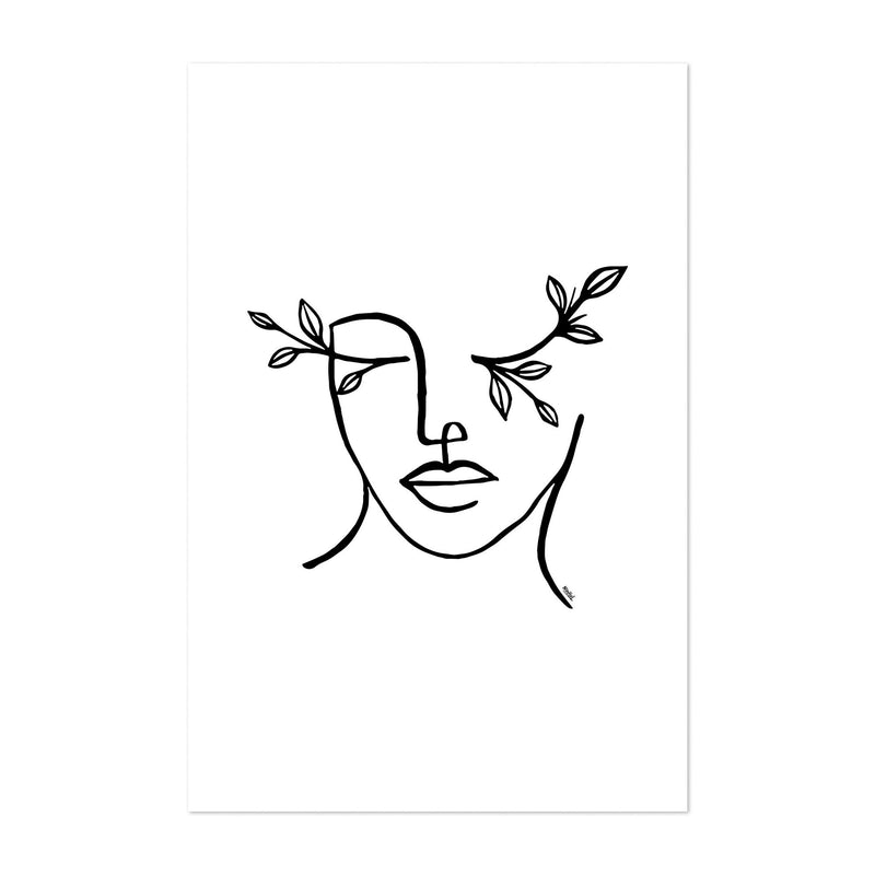 Figurative Feminine Line Drawing Art Print