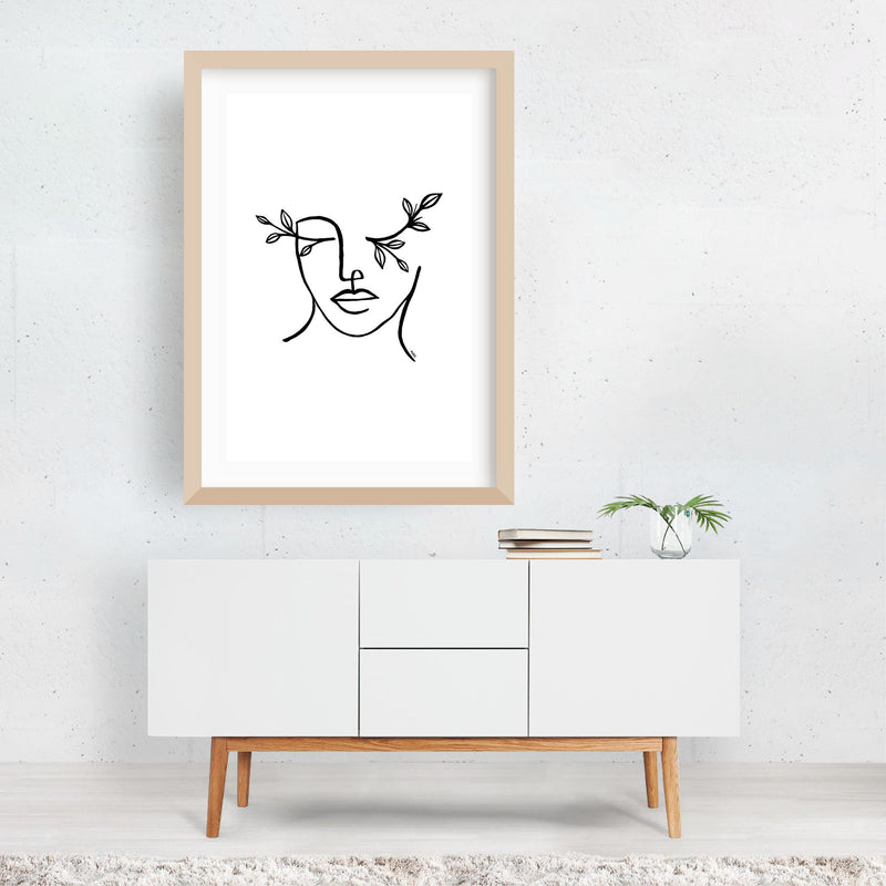 Figurative Feminine Line Drawing Framed Art Print