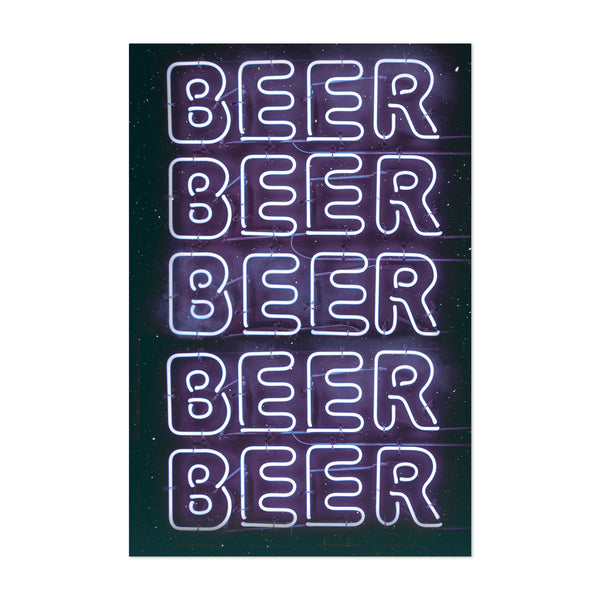 Beer Space Neon Collage Art Print