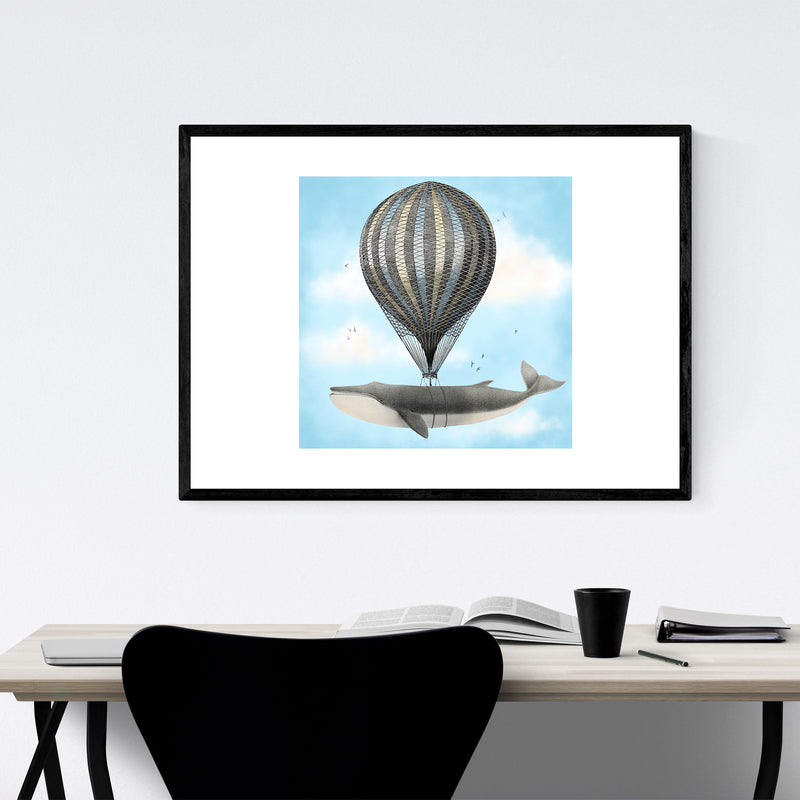 Whale Hot Air Balloon Funny Framed Art Print
