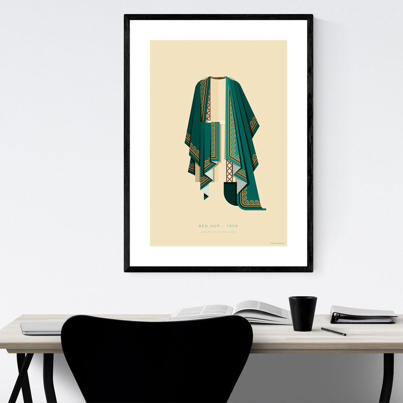 Ben Hur Movie TV Illustration Framed Art Print