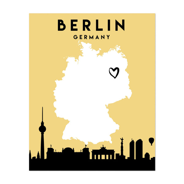Berlin Germany Heart Urban Map Art Print