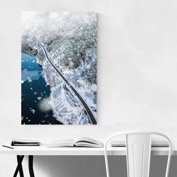 Åkrafjorden Norway Winter Landscape Art Print