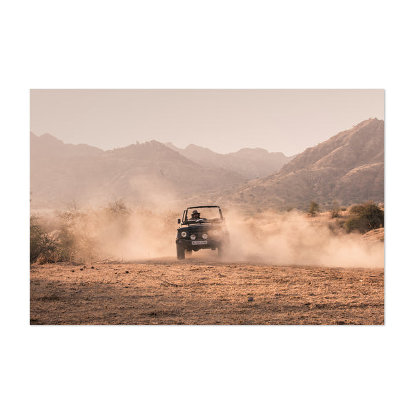 India Outback Vintage Jeep Art Print