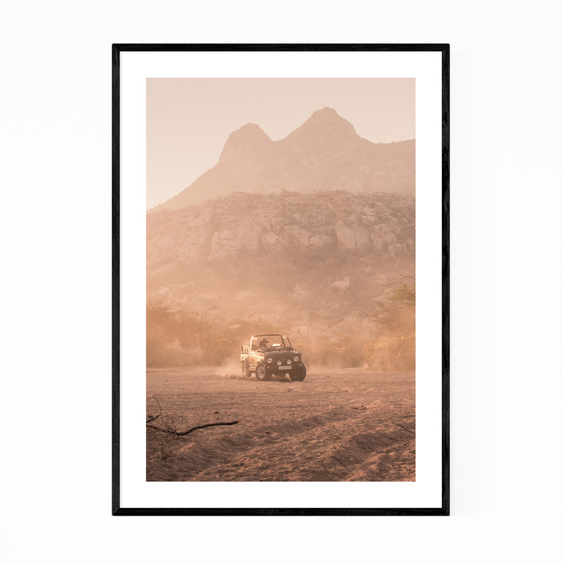 India Outback Vintage Jeep Framed Art Print