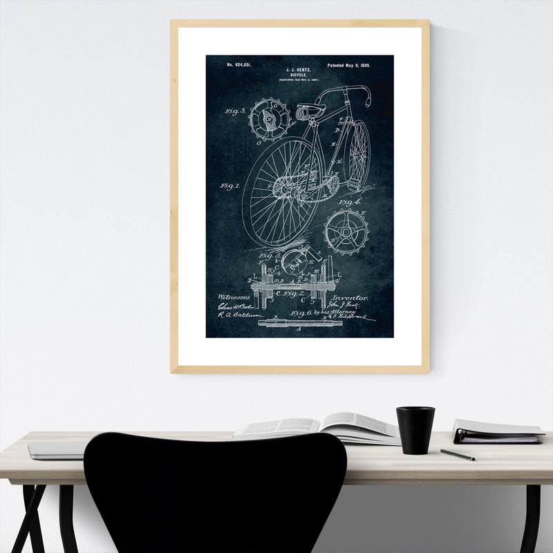 Bicycle Patent Print Framed Art Print