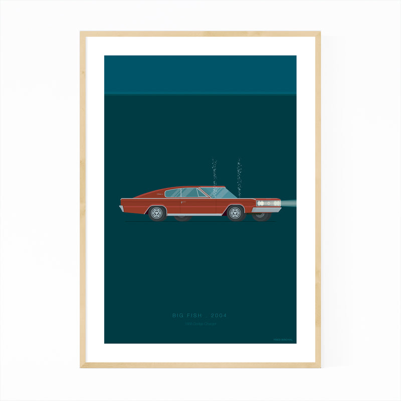 Big Fish Cars Movie TV Illustration Framed Art Print
