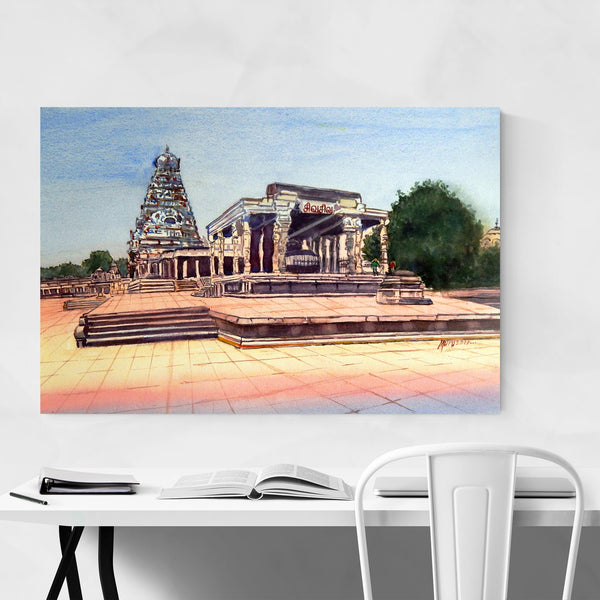 India Temple Landscape Painting Art Print