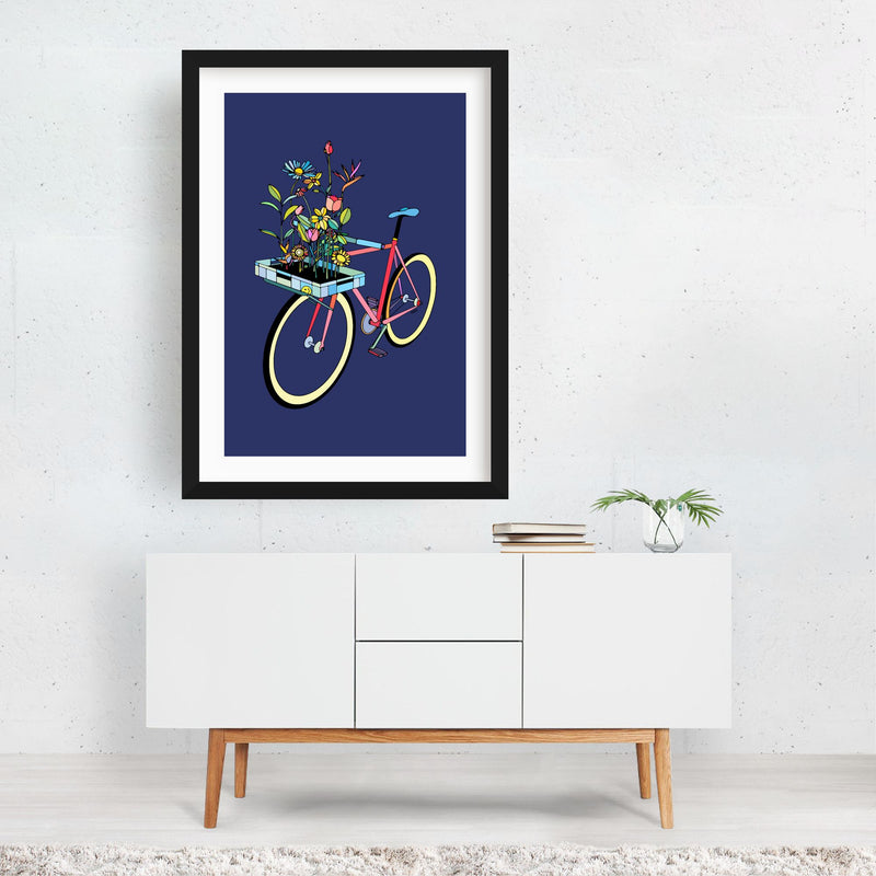 Floral Sports Cycling Illustration Framed Art Print