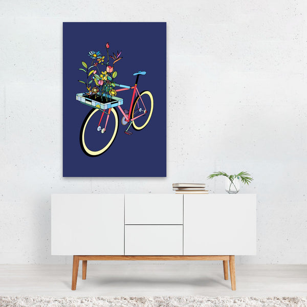 Floral Sports Cycling Illustration Art Print