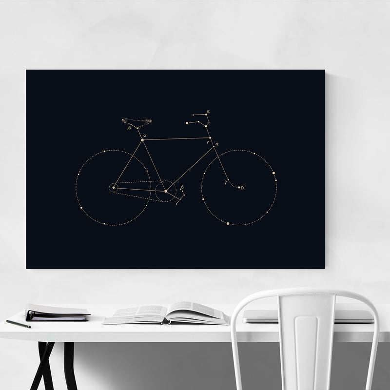 Bike Cycling Dark Line Drawing Art Print