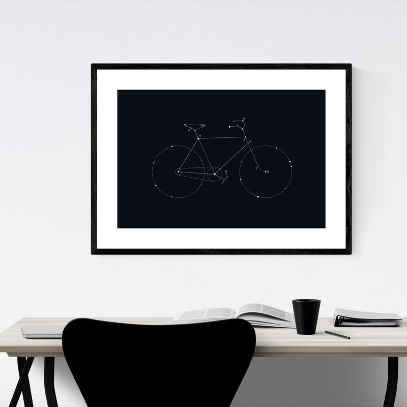Bike Cycling Dark Line Drawing Framed Art Print