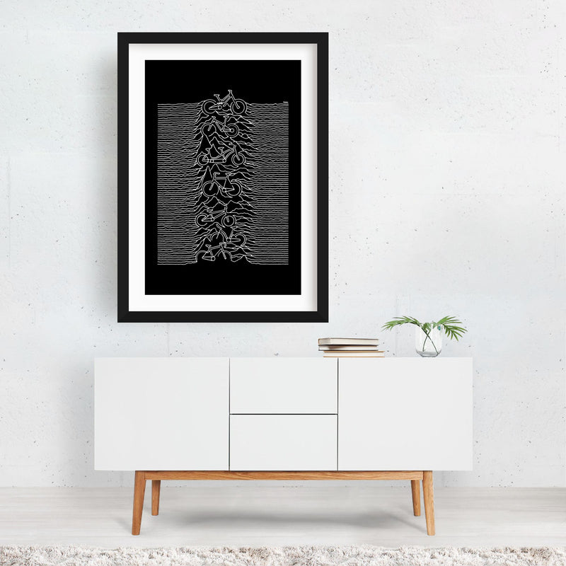 Sports Cycling Line Drawing Framed Art Print