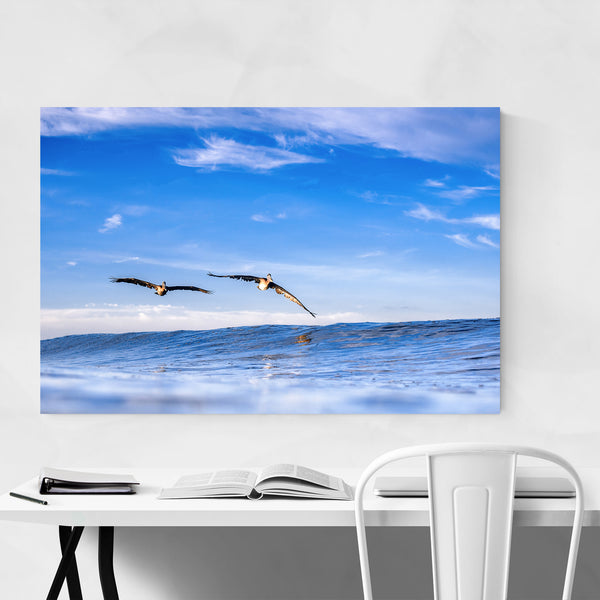 Pelican Surfing Wave Ocean Beach Art Print