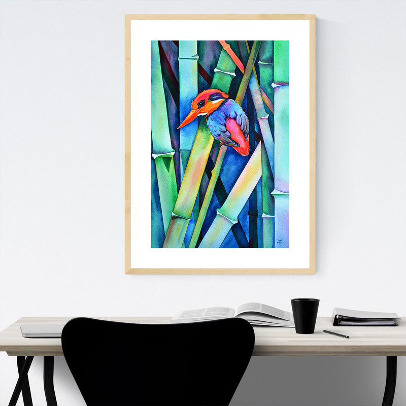 Animal Birds Feathers Fish Painting Framed Art Print