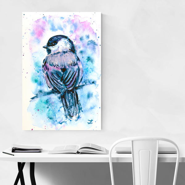 Animal Birds Chickadee Painting Art Print