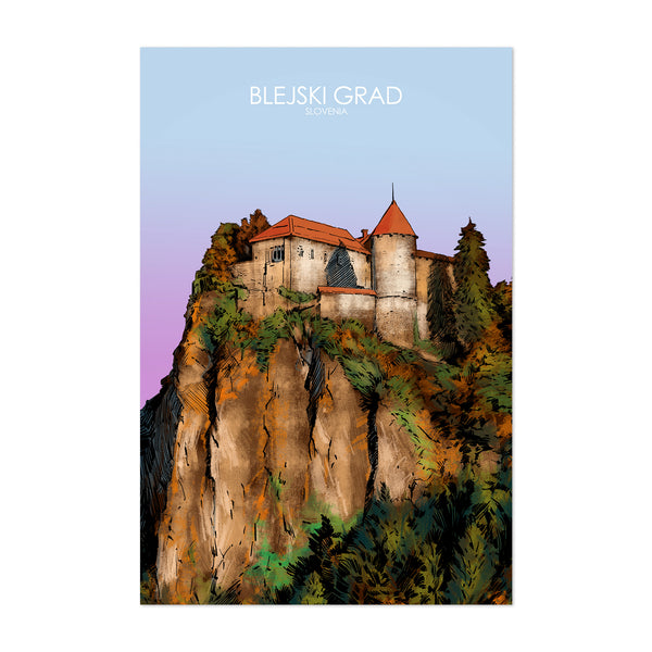 Bled Lake Slovenia Travel Poster Art Print