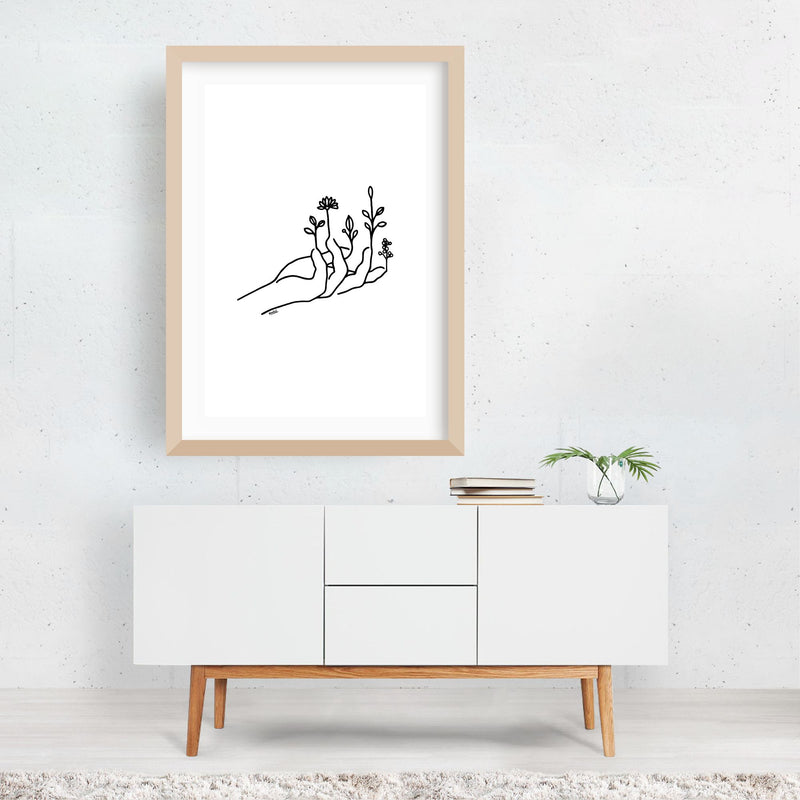 Floral Botanical Nature Line Drawing Framed Art Print