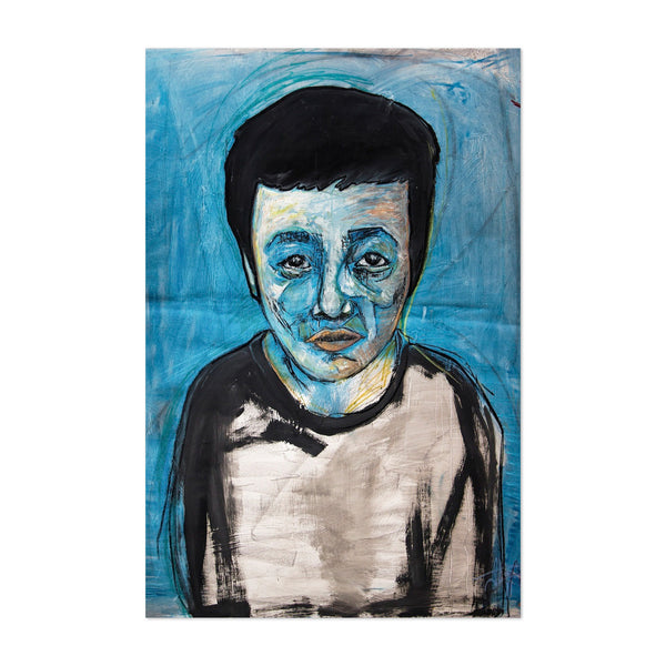 Lone Blue Boy Portrait Oil Acrylic Art Print